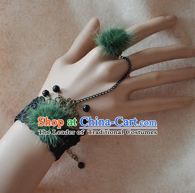 European Western Bride Vintage Renaissance Green Venonat Lace Bracelet with Ring for Women