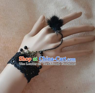 European Western Bride Vintage Renaissance Black Venonat Lace Bracelet with Ring for Women