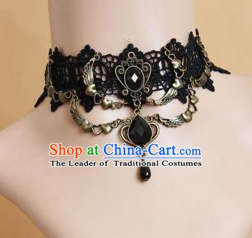European Western Vintage Jewelry Accessories Renaissance Bride Black Lace Gothic Necklace for Women