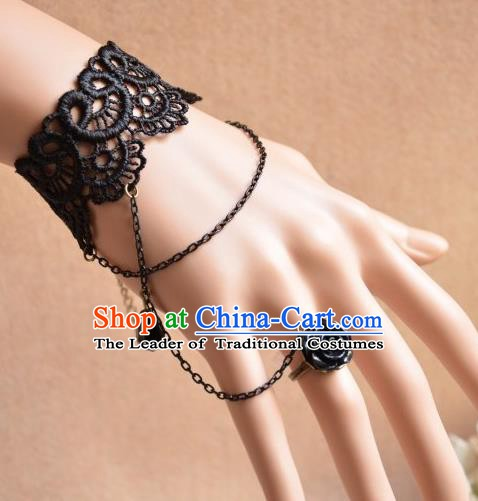 European Western Bride Wrist Accessories Vintage Renaissance Black Lace Gothic Bracelet with Ring for Women