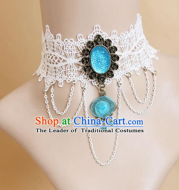 European Western Vintage Jewelry Accessories Renaissance Bride Blue Crystal Lace Gothic Necklace for Women