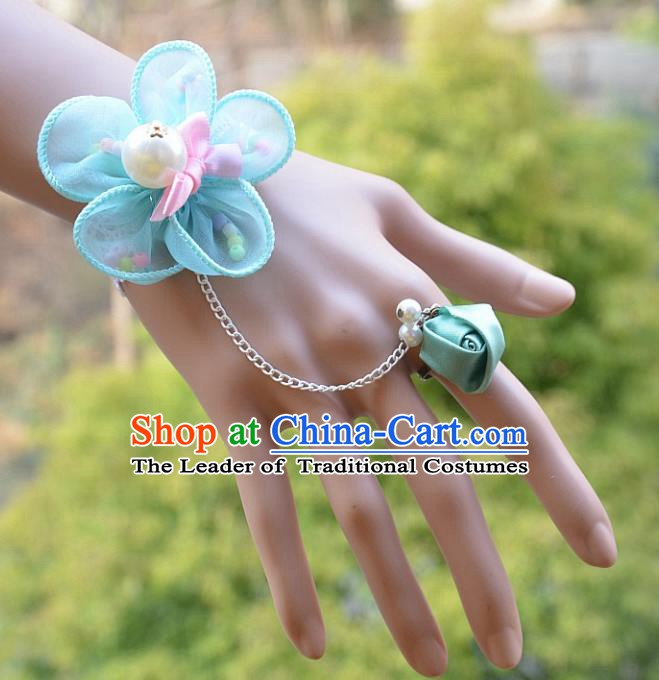 European Western Bride Wrist Accessories Vintage Renaissance Blue Flower Gothic Bracelet with Ring for Women