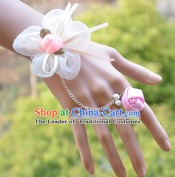 European Western Bride Wrist Accessories Vintage Renaissance Pink Flower Gothic Bracelet with Ring for Women