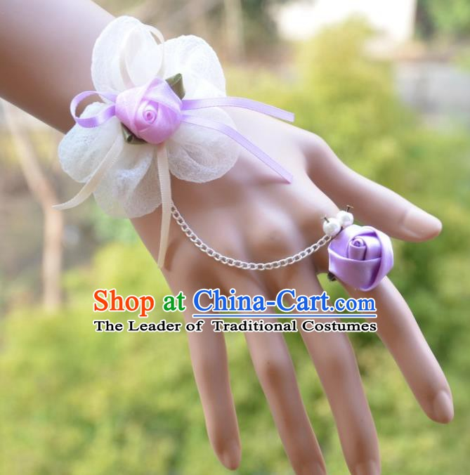 European Western Bride Wrist Accessories Vintage Renaissance Purple Flower Gothic Bracelet with Ring for Women