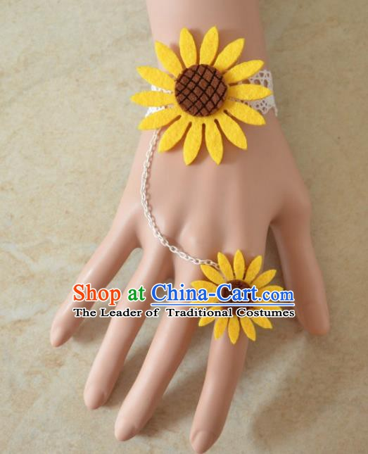 European Western Bride Wrist Accessories Vintage Renaissance Yellow Sunflower Bracelet with Ring for Women