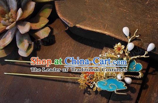 Chinese Handmade Classical Wedding Hairpins Ancient Hanfu Hair Accessories Hair Clip for Women