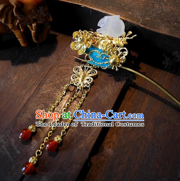 Chinese Handmade Classical Wedding Hairpins Ancient Hanfu Hair Accessories Tassel Step Shake for Women