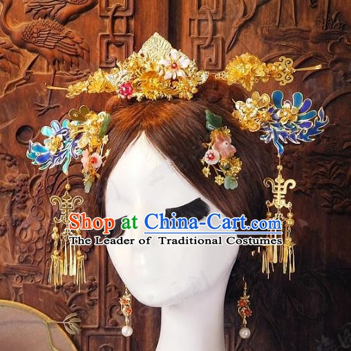 Chinese Handmade Classical Wedding Hairpins Ancient Hanfu Golden Phoenix Coronet Hair Accessories for Women