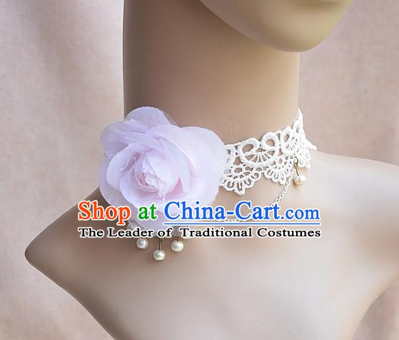 European Western Vintage Jewelry Accessories Renaissance Pink Flower Necklace for Women