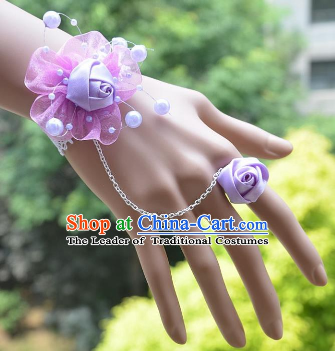 European Western Bride Vintage Jewelry Accessories Renaissance Purple Flower Bracelet with Ring for Women