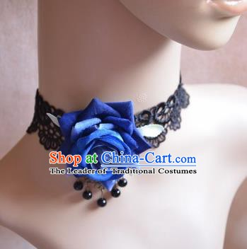 European Western Vintage Jewelry Accessories Renaissance Bride Blue Rose Lace Necklace for Women