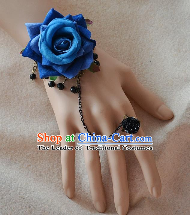 European Western Bride Vintage Jewelry Accessories Renaissance Blue Rose Bracelet with Ring for Women