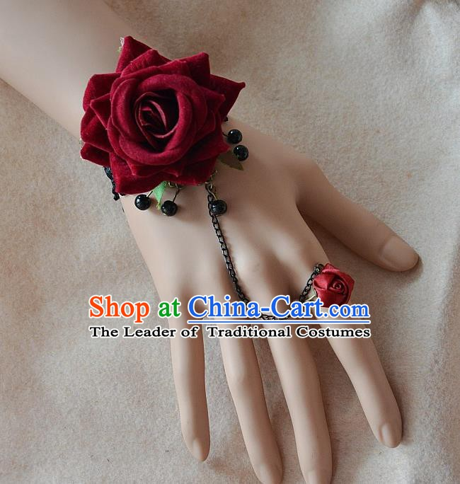 European Western Bride Vintage Jewelry Accessories Renaissance Wine Red Rose Bracelet with Ring for Women