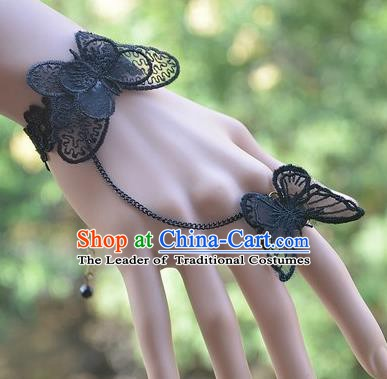 European Western Bride Vintage Jewelry Accessories Renaissance Black Lace Butterfly Bracelet with Ring for Women