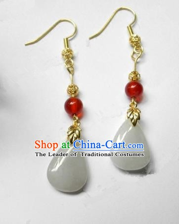 Asian Chinese Traditional Handmade Jewelry Accessories Jadeite Earrings for Women