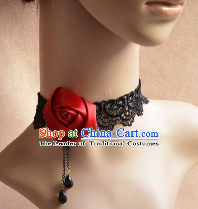 European Western Vintage Jewelry Accessories Renaissance Bride Wine Red Satin Rose Necklace for Women