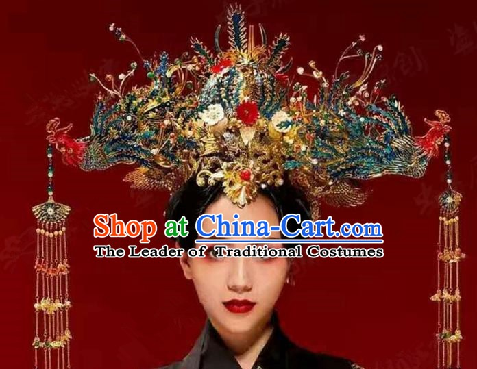 Chinese Handmade Classical Hairpins Ancient Hanfu Luxurious Phoenix Coronet Hair Accessories for Women