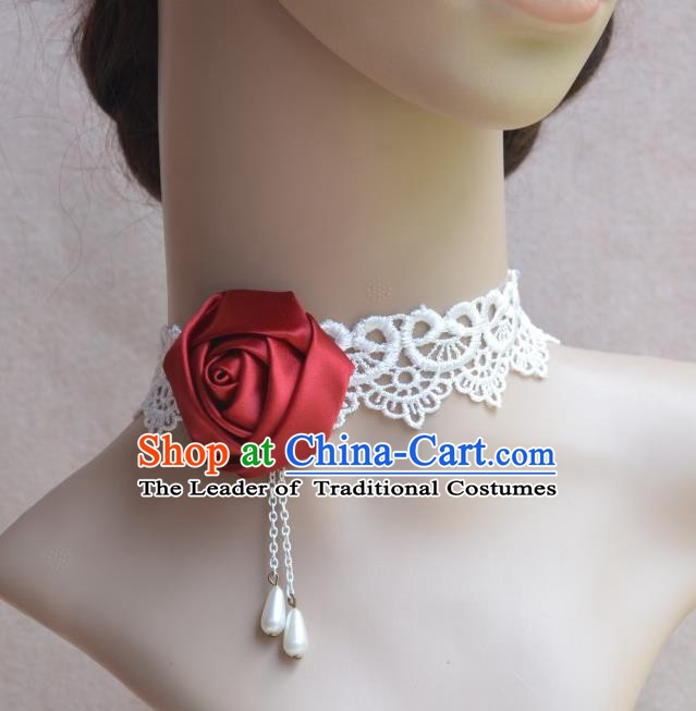 European Western Vintage Jewelry Accessories Renaissance Bride Red Satin Rose Necklace for Women
