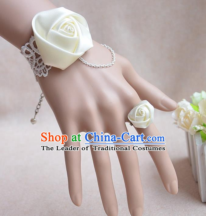 European Western Bride Vintage Jewelry Accessories Renaissance Beige Satin Bracelet and Ring for Women