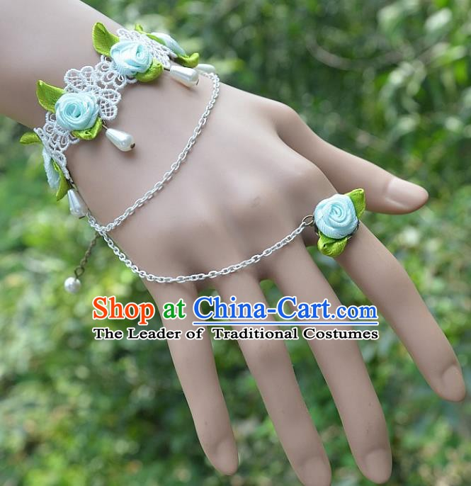 European Western Bride Vintage Jewelry Accessories Renaissance Blue Flowers Pearl Bracelet with Ring for Women
