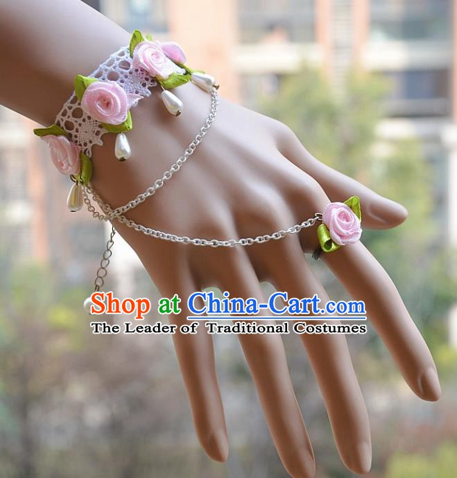 European Western Bride Vintage Jewelry Accessories Renaissance Pink Flowers Pearl Bracelet with Ring for Women