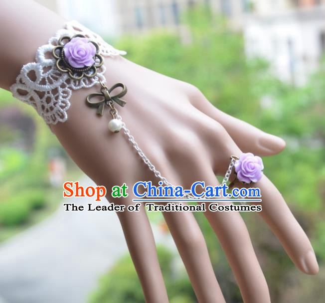 European Western Bride Vintage Jewelry Accessories Renaissance Purple Rose Bracelet with Ring for Women