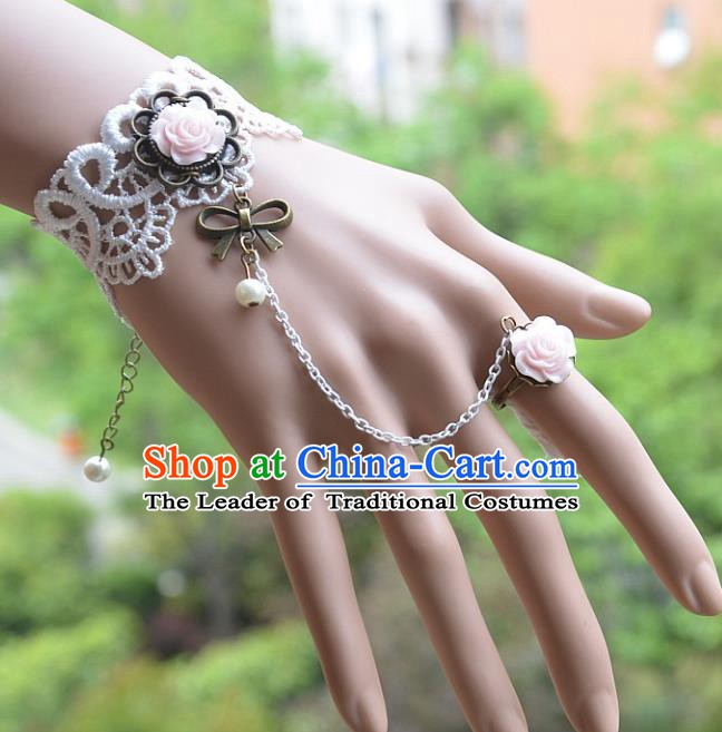 European Western Bride Vintage Jewelry Accessories Renaissance Pink Rose Bracelet with Ring for Women