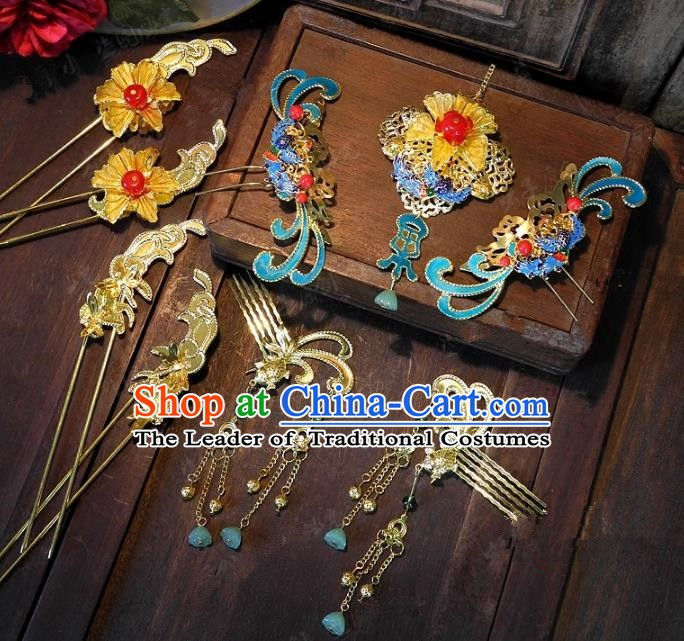 Chinese Handmade Classical Blueing Hairpins Ancient Hanfu Headdress Hair Accessories for Women
