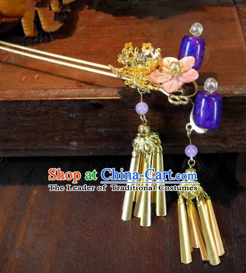 Chinese Handmade Classical Hairpins Ancient Hanfu Purple Hair Clip Headdress Hair Accessories for Women