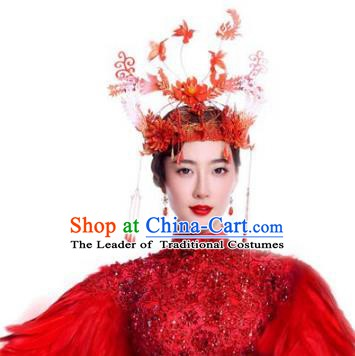 Chinese Handmade Classical Red Phoenix Coronet Ancient Hanfu Headdress Hair Accessories for Women