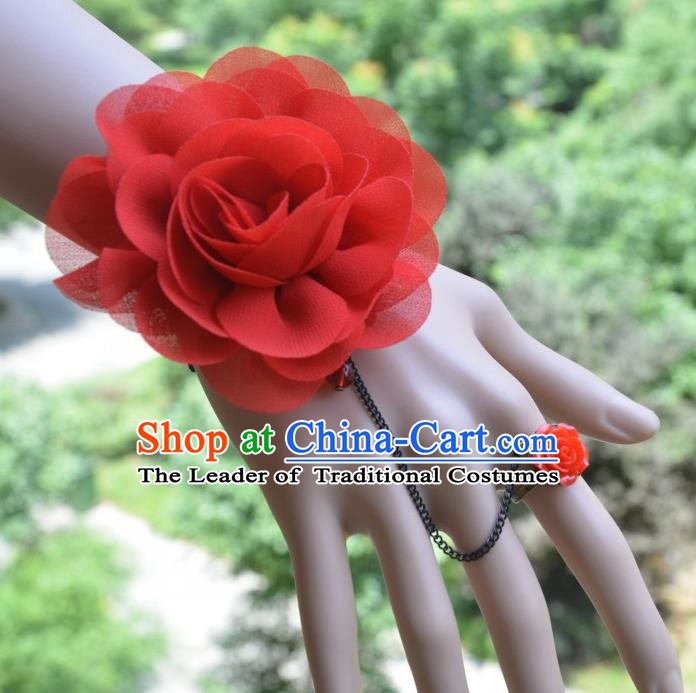 European Western Bride Vintage Red Wrist Flowers Accessories Renaissance Bracelet with Ring for Women