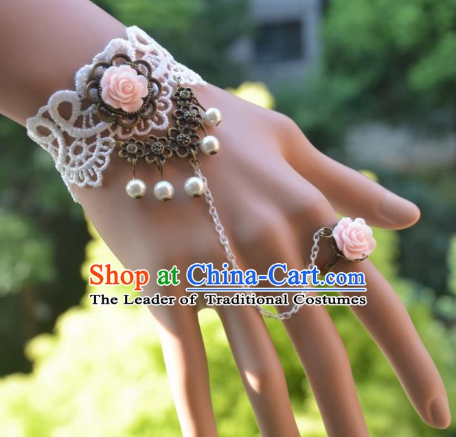 European Western Bride Vintage Accessories Renaissance Pink Rose Pearls Bracelet with Ring for Women
