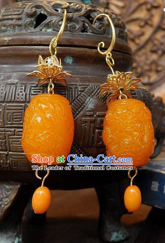 Asian Chinese Traditional Handmade Jewelry Accessories Beeswax Earrings for Women