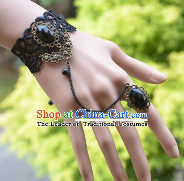 European Western Bride Vintage Accessories Renaissance Black Crystal Lace Bracelet with Ring for Women