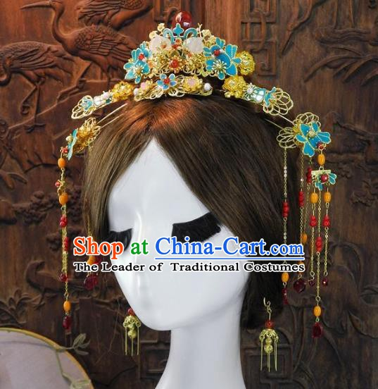 Chinese Handmade Classical Hairpins Ancient Hanfu Xiuhe Headdress Hair Accessories for Women