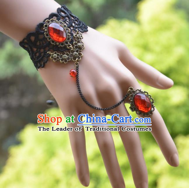 European Western Bride Vintage Accessories Renaissance Red Crystal Lace Bracelet with Ring for Women