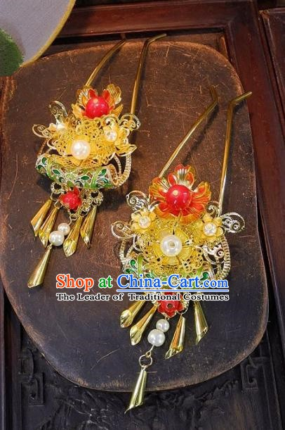 Chinese Handmade Classical Hairpins Ancient Hanfu Wedding Hair Clip Hair Accessories for Women