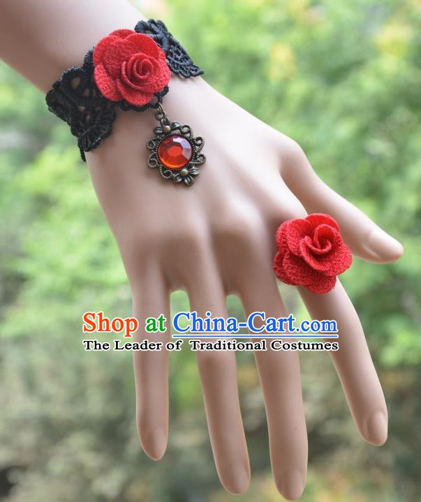 European Western Bride Vintage Jewelry Accessories Renaissance Red Crystal Flower Bracelet and Ring for Women