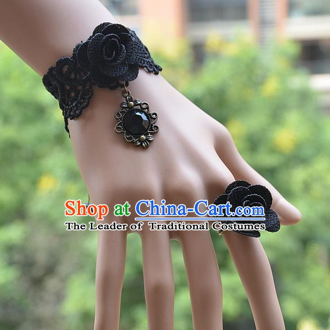 European Western Bride Vintage Jewelry Accessories Renaissance Black Crystal Flower Bracelet and Ring for Women