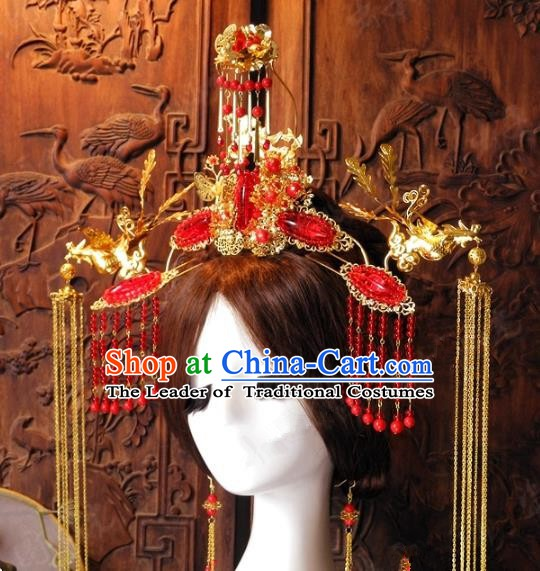 Chinese Handmade Classical Hairpins Ancient Hanfu Xiuhe Red Tassel Phoenix Coronet Hair Accessories for Women