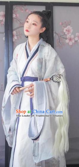 Traditional China Ancient Jin Dynasty Princess Embroidered Costumes Complete Set for Women