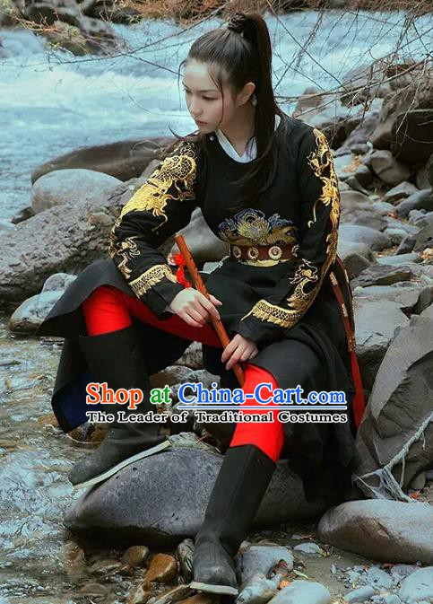 China Ancient Swordswoman Costume Tang Dynasty Imperial Bodyguard Embroidered Clothing for Women