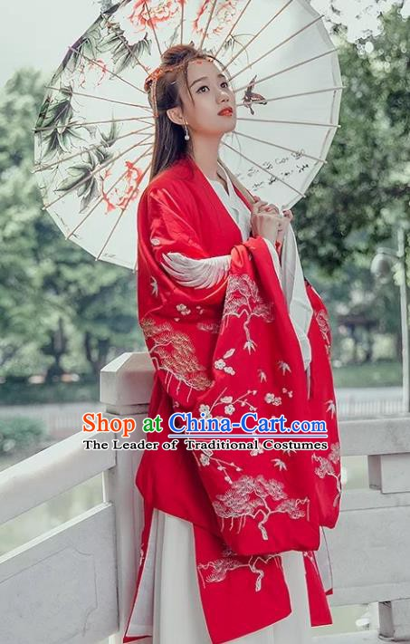 China Ancient Palace Princess Costume Embroidered Red Wide Sleeve Cardigan for Women