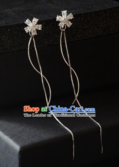 European Western Bride Vintage Accessories Eardrop Renaissance Crystal Flower Tassel Earrings for Women