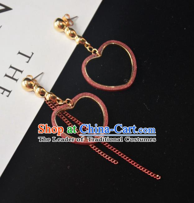 European Western Bride Vintage Accessories Eardrop Renaissance Heart-Shape Earrings for Women