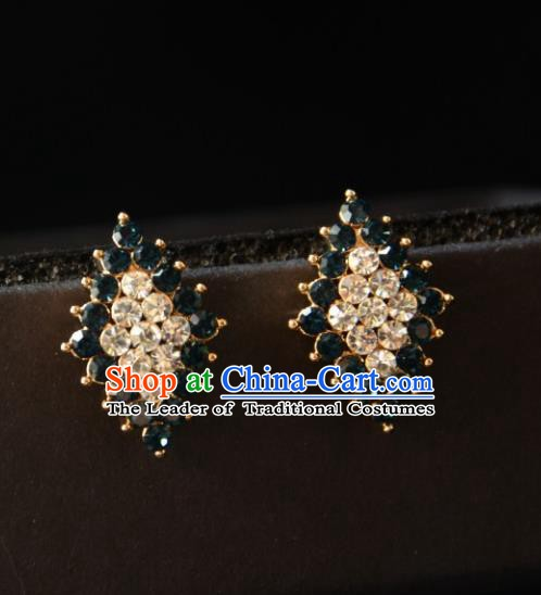 European Western Bride Vintage Accessories Eardrop Renaissance Crystal Rhombus Earrings for Women