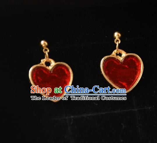 European Western Bride Vintage Accessories Eardrop Renaissance Red Heart Earrings for Women