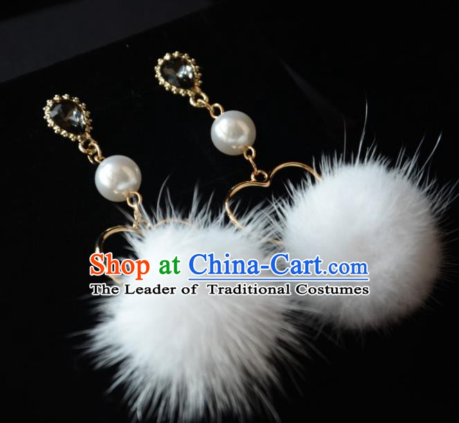 European Western Bride Vintage Accessories Eardrop Renaissance White Venonat Earrings for Women