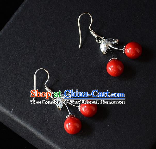 European Western Bride Vintage Accessories Red Cherry Eardrop Renaissance Earrings for Women