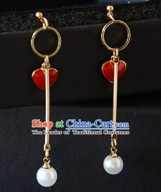 European Western Bride Vintage Accessories Red Heart Eardrop Renaissance Earrings for Women
